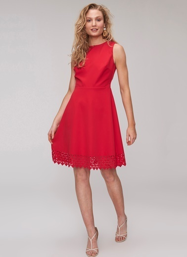 People By Fabrika Lazer Kesim Elbise Kırmızı